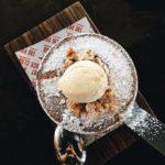 Raspberry earl grey amp chocolate clafoutis with mascarpone ice creamhellip